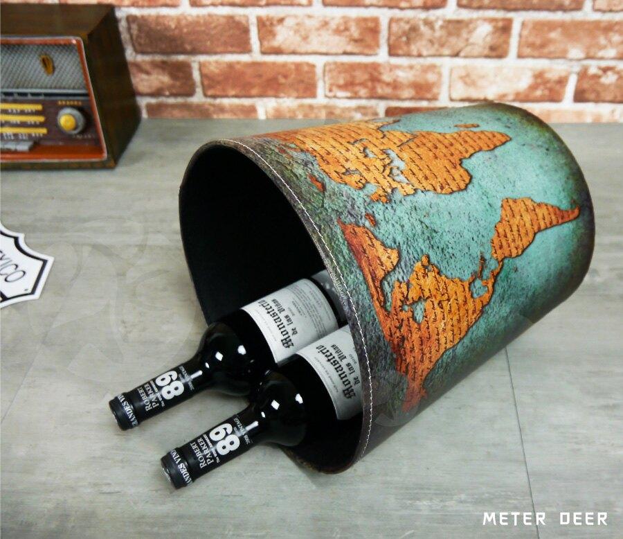 垃圾桶 收納桶 皮革製廢紙簍 復古世界藍地圖造型 品味工業風 防潑水居家房間裝飾玩具雜物整理收納桶置物籃垃圾桶