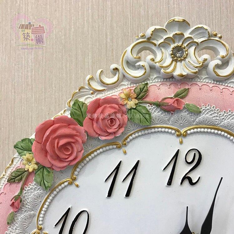 立體浮雕粉玫瑰天使擺鐘   【築巢傢飾】