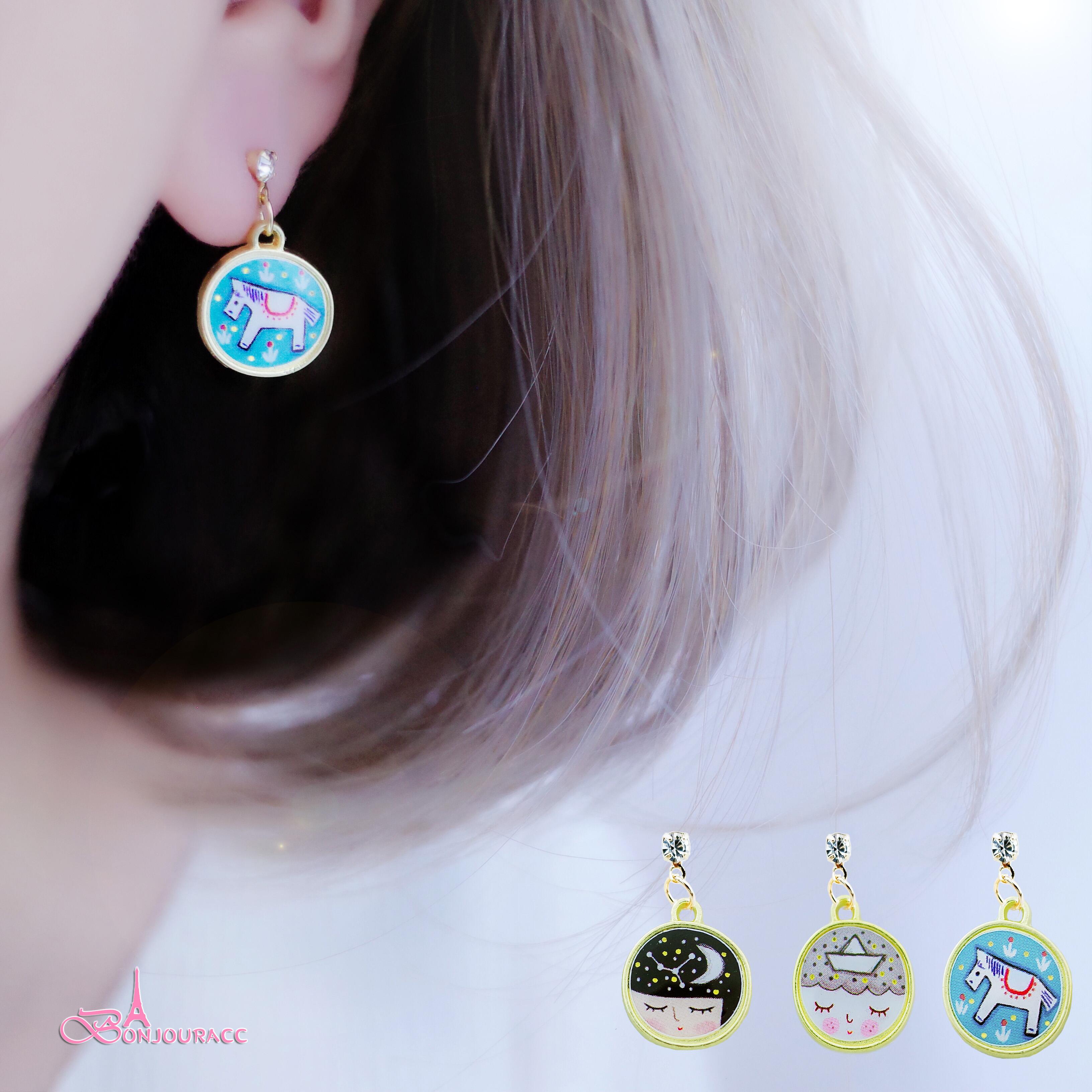 韓國夢境女孩與小木馬 夾式 針式 耳環【Bonjouracc】