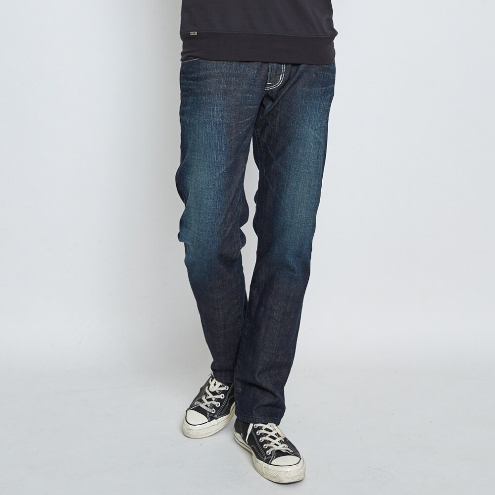 EDWIN EDGE LINE 503 斜袋 中直筒牛仔褲 (白色袋花) -男款 中古藍 STRAIGHT