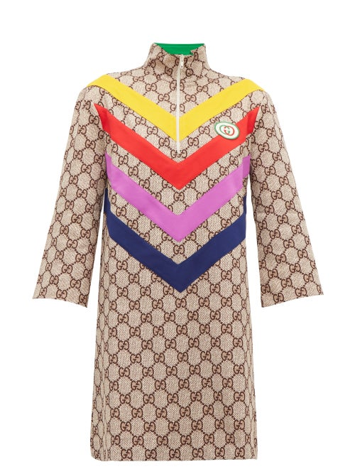 Gucci - GG Supreme-jacquard Rainbow-appliqué Dress - Womens - Brown Multi