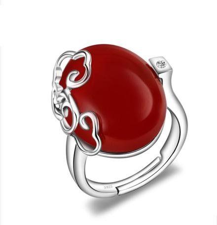 雲淡女複古紅瑪瑙戒指