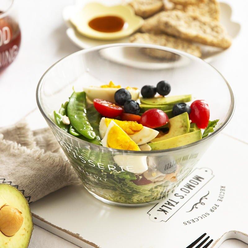 肆月 幸運 日式簡約法文字母玻璃沙拉碗 家用透明水果碗甜品碗1入