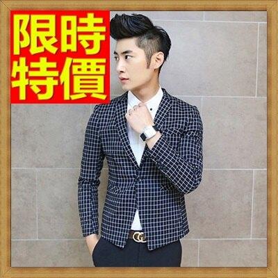 ☆毛呢外套 男西服-羊毛韓版修身格子男西裝外套2色63af48【韓國進口】【米蘭精品】