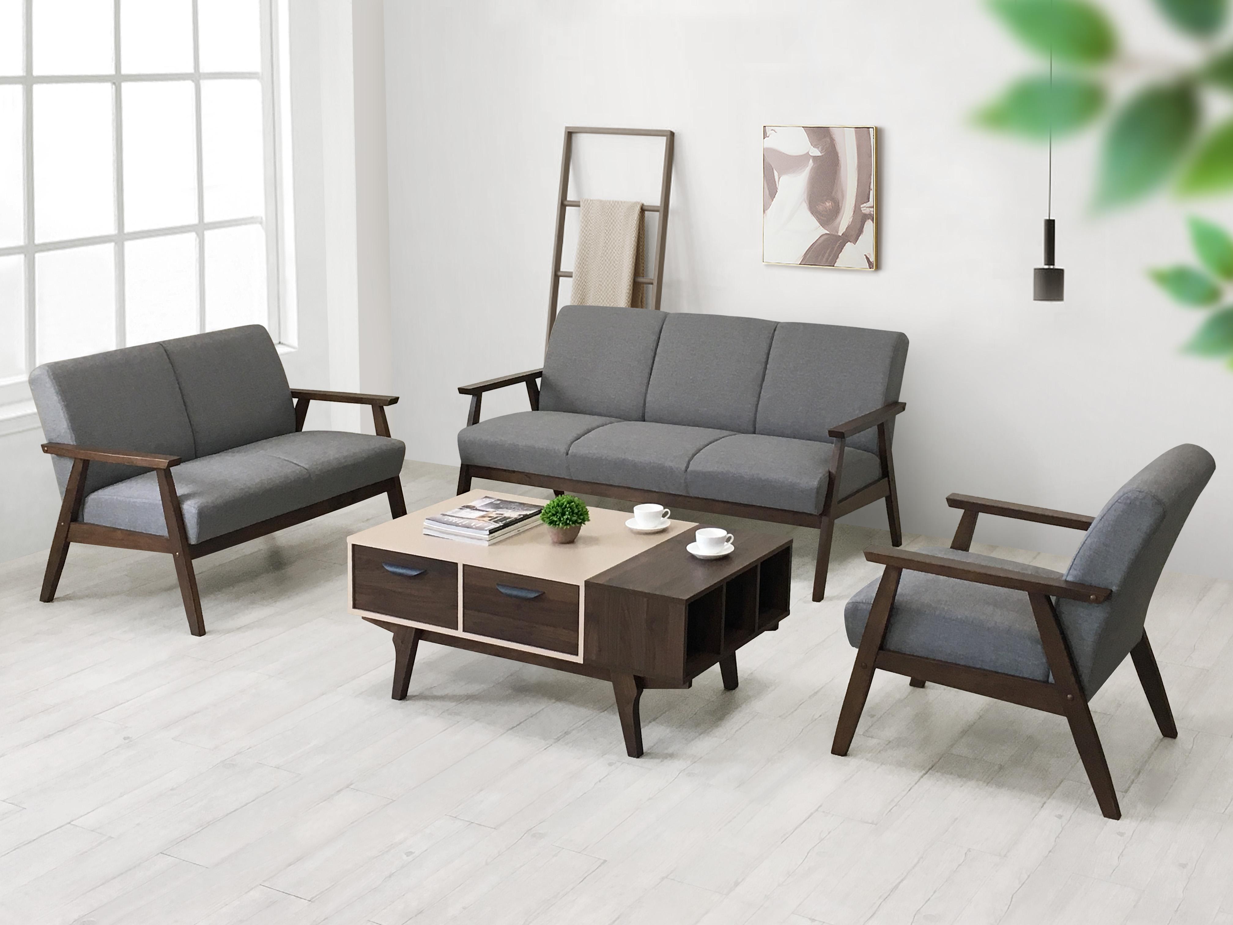 《波頓》618年中慶  快速出貨 WFH 在家工作《波頓》618年中慶 雙人沙發 木製沙發 布沙發 二人沙發 二人座 二人位 亞麻布 木扶手 橡膠木 現代 簡約 【新生活家具】
