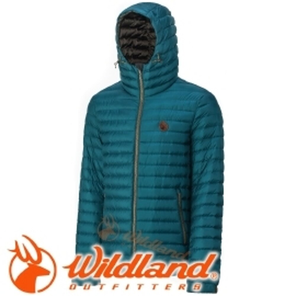 【Wildland 荒野 男款700FP連帽輕時尚 羽絨衣 土耳其藍】0A32112/連帽羽絨衣/輕量羽絨衣