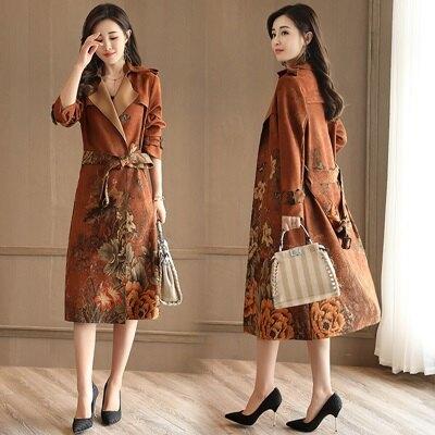 風衣外套麂皮絨長版大衣-歐美復古花朵印花女外套73oo34【獨家進口】【米蘭精品】