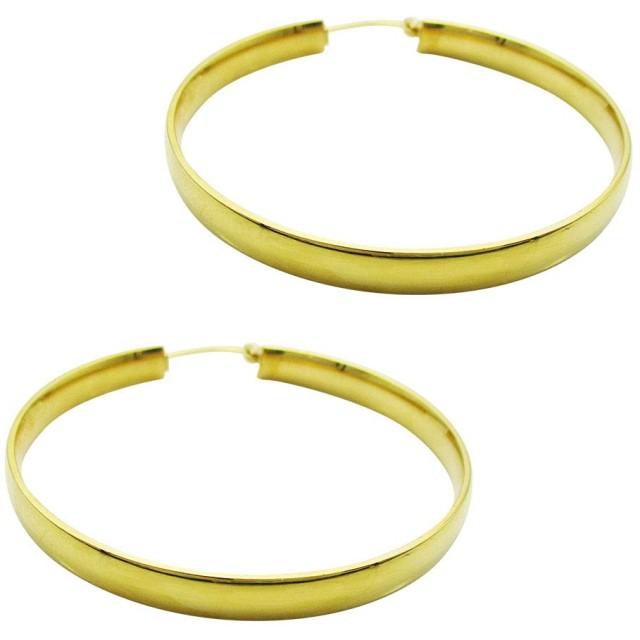 ステンレス ピアス (22) 50mmフープ大 2個セット 両耳売り サージカルステンレス 316L ユニセックス フープ 金属アレルギー対応 金色(ゴールド)