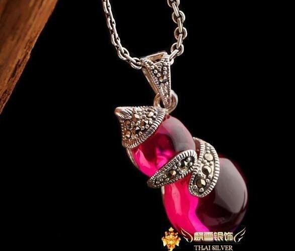 銀飾品老銀匠手工泰銀複古紅剛玉葫蘆項鏈吊墜女款