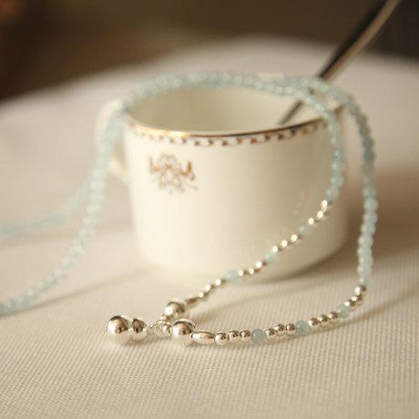 水晶飾品 晶瑩海藍寶加銀葫蘆纏繞手鏈女款