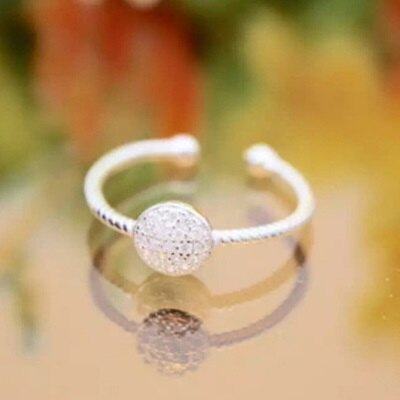 925純銀戒指鑲鑽開口戒-韓版時尚簡約圓形情人節生日禮物女飾品73dt632【獨家進口】【米蘭精品】