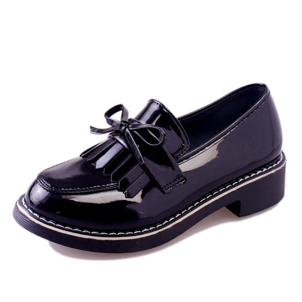 2018新款女鞋英倫風春季單鞋chic小皮鞋女學生百搭原宿中跟樂福鞋