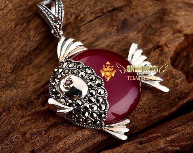 銀飾品泰銀複古鑲紅剛玉小魚項鏈吊墜女款手工七夕禮物