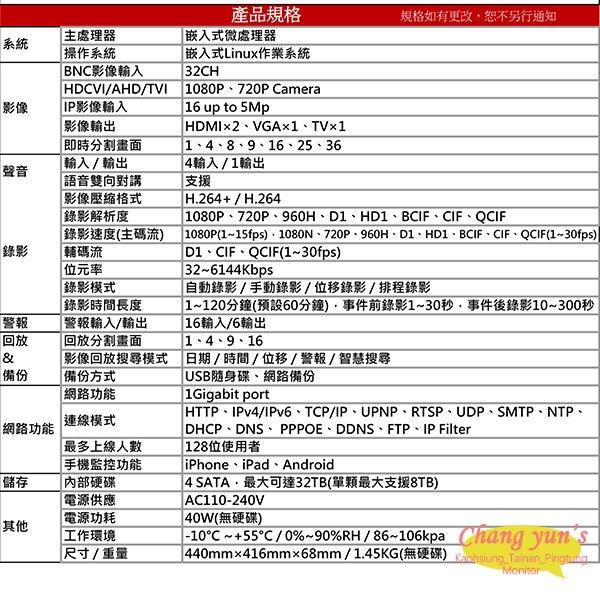 高雄/台南/屏東監視器 DHI-XVR5432L H.264 32路全方位五合一XVR 大華dahua 監視器主機 請來電詢價