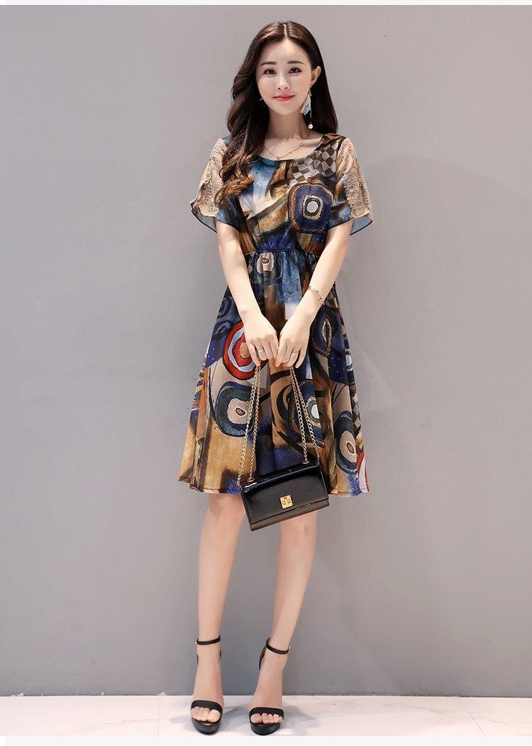 FINDSENSE G5 韓國時尚 新款 女裝 連身裙 雪紡 修身 百搭 顯瘦 裙子