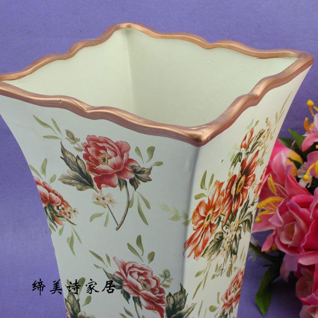卡芙瑞拉系列 歐式田園 陶瓷彩繪方口花瓶 花壺花器 HP032