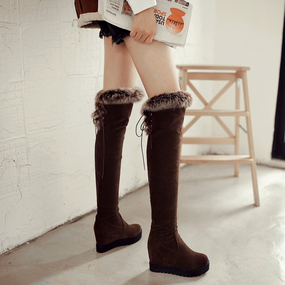 免運 雪地靴女 高筒長靴秋冬新款女士棉鞋厚底防水台坡跟過膝靴子【韓國時尚週】