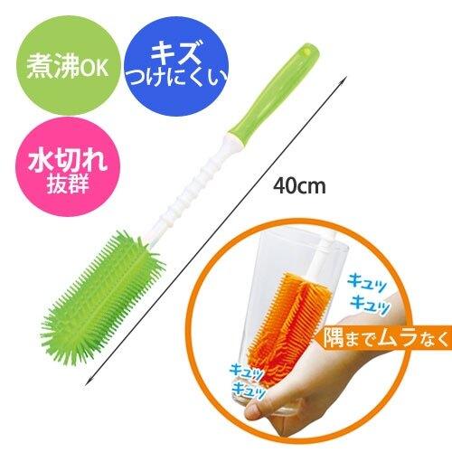 日本 EDISON 長柄矽膠奶瓶清洗刷(桃/橘/綠)【母親節推薦】