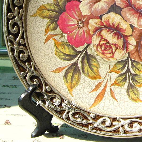 歐式田園彩繪 陶瓷擺盤 銀邊裝飾盤 新房擺件 擺飾 BP006