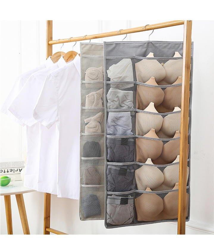 【雙面收納掛袋】 大號內衣內褲襪子收納 雙面收納掛袋牆掛式 衣櫃布藝收納袋