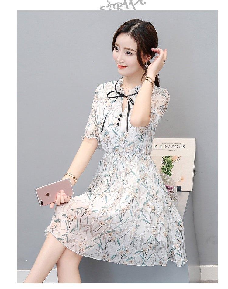 FINDSENSE G5 韓國時尚 小清新 短袖 印花 雪紡裙 連衣裙 及膝裙