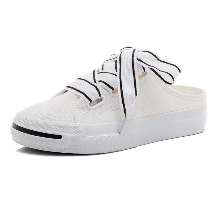 半拖鞋 小白帆布女鞋夏季半拖鞋無后跟懶人布鞋韓版百搭春款潮鞋