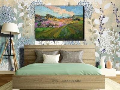 [銀聯網] 客廳風景抽象油畫手繪現代畫酒店壁畫(無框) 1入