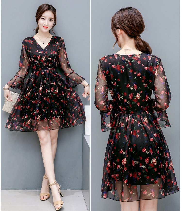 FINDSENSE G5 韓國時尚 夏季 七分袖 雪紡 碎花 中長款 連身裙