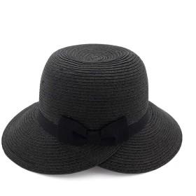 ZiWen Lu 新しい夏の帽子の女性屋外のUV太陽の帽子つばの広い帽子の休日の帽子わら編み (色 : ブラック, サイズ : 56-58CM)