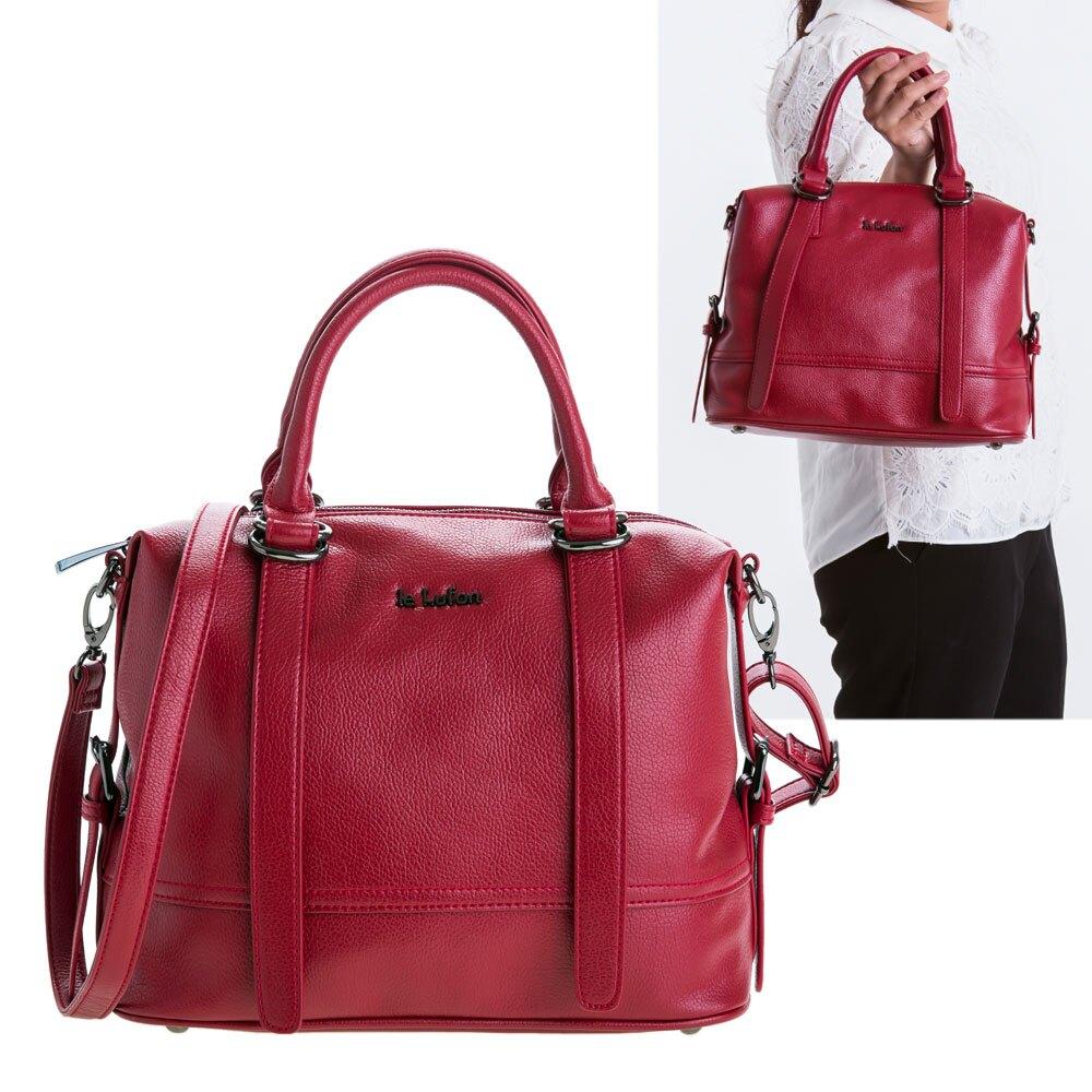 【le Lufon】酒紅色荔枝紋皮革 垂墜感皮帶金屬扣提把設計兩用手提包(M) 手提包/側背包/斜背包(黑色/酒紅二色)