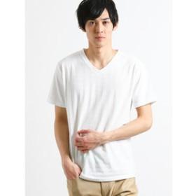 【on the day:トップス】リンクスジャガード千鳥柄 Vネック半袖Tシャツ