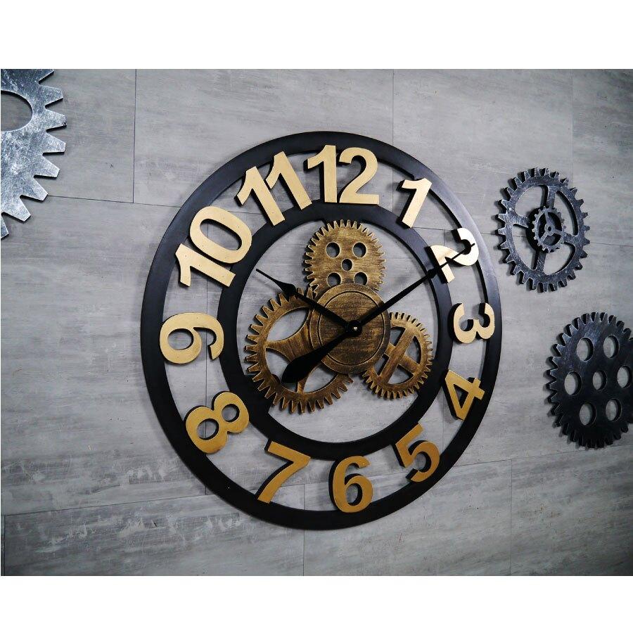 工業風大尺寸立體齒輪造型木質時鐘 金色銀色數字款簍空刻度70公分大型復古掛鐘loft商空店面牆面裝飾時鐘-米鹿家居