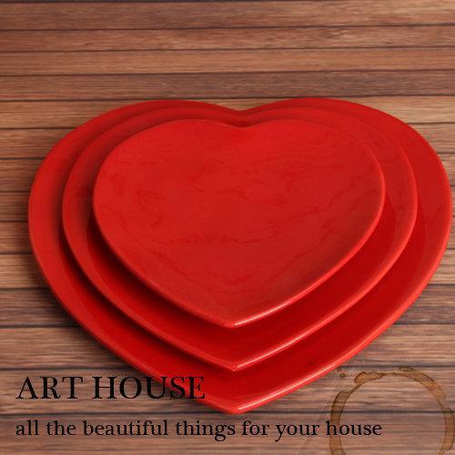 歐式彩色純色愛心陶瓷心型盤 牛排盤 沙拉盤 點心糖果盤 時尚盤子3個組(綠色)(圖一)