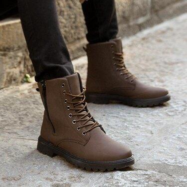 馬丁靴 春夏新款韓版男士靴子高幫棉鞋潮流馬丁靴男中筒軍靴皮靴男棉靴45 全館八八折