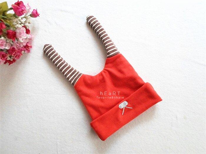 【現貨】條紋兔耳拼色嬰兒保暖帽 童帽 嬰兒帽 胎帽 新生兒帽