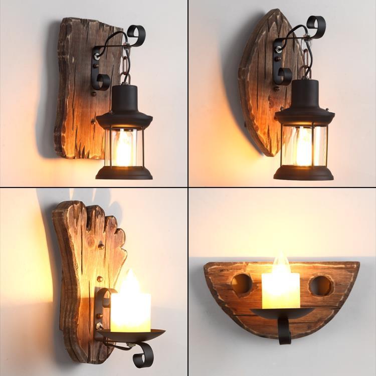 復古懷舊船木壁燈工業風創意服裝火鍋店酒吧餐廳美式個性裝飾墻燈