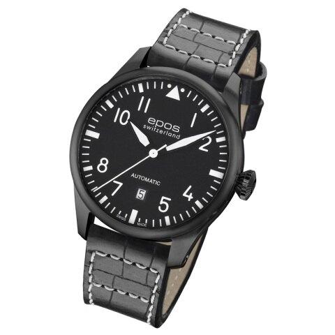 EPOS SPORTIVE黑鷹計畫 飛行機械錶 3397.132.25.55.24全黑/43mm