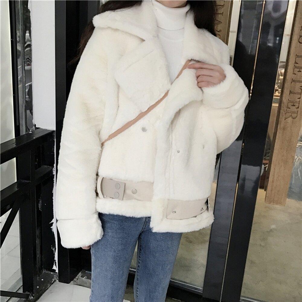 麂皮外套 韓版chic皮毛一體麂皮絨外套女短款機車服仿羊羔毛夾克2019新款冬 曼慕衣櫃