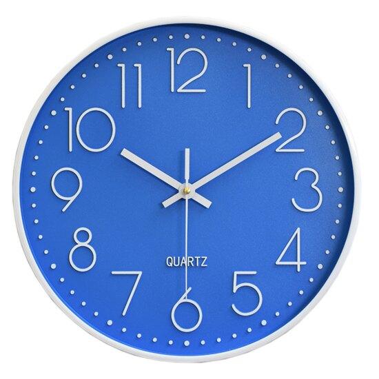 時鐘 鐘錶 壁鐘 電池 大字體 石英鐘 靜音鐘 客廳 立體數字刻度 臥室 北歐風 塑料 數字 圓形 靜音 掛鐘 ♚MY COLOR♚  【G011】