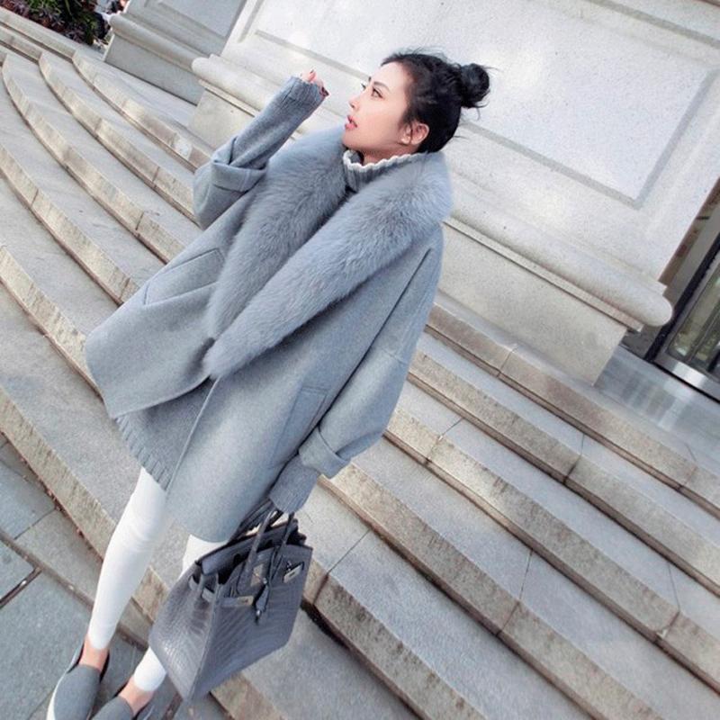 毛呢外套中長版大衣-秋冬大毛領寬鬆顯瘦女外套2色73wd26【獨家進口】【米蘭精品】