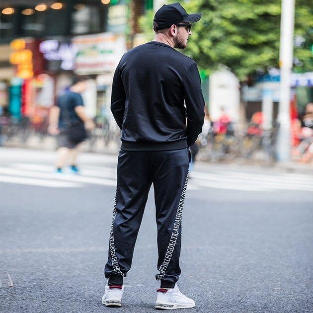 FINDSENSE品牌監製 大尺碼男裝 衛衣套裝2019春夏新款加肥加大兩件套男士套裝冰絲速乾排汗衣服休閑運動套裝