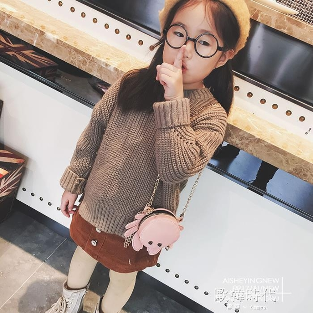 兒童斜背包 女童可愛螃蟹斜背包公主卡通時尚單肩背包潮 歐韓時代