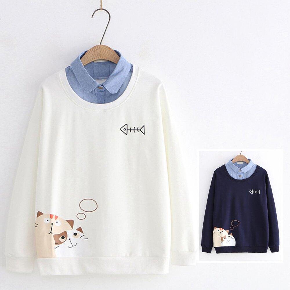 日系森女幻想貓咪印花牛仔領假兩件上衣(2色M,L)【OREAD】