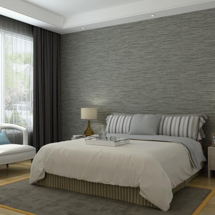 純色素色亞麻壁紙臥室無紡布時尚灰色牆紙背景牆 TW
