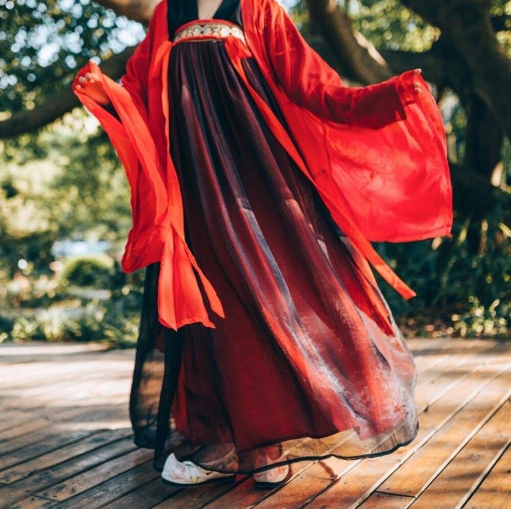 漢服 【紅顏劫】一溪月漢服女裝齊胸襦裙對襟金烏繡花兩片式現貨3米擺 曼慕衣櫃聖誕節禮物