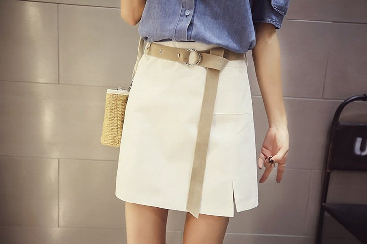 FINDSENSE G5 韓國時尚 高腰 OL A字裙 百搭 半身裙 純色 修身短裙