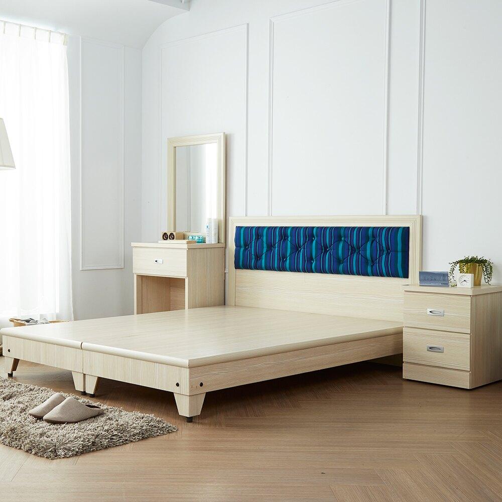 藍儂田園海洋風雙人5尺房間組/4件式(床頭+床底+二抽櫃+鏡台)/H&D東稻家居-消費滿3千送點數10%