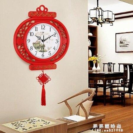 北極星新中式藝術靜音掛鐘大氣客廳時鐘家用掛表個性壁掛裝飾鐘表 年貨節預購
