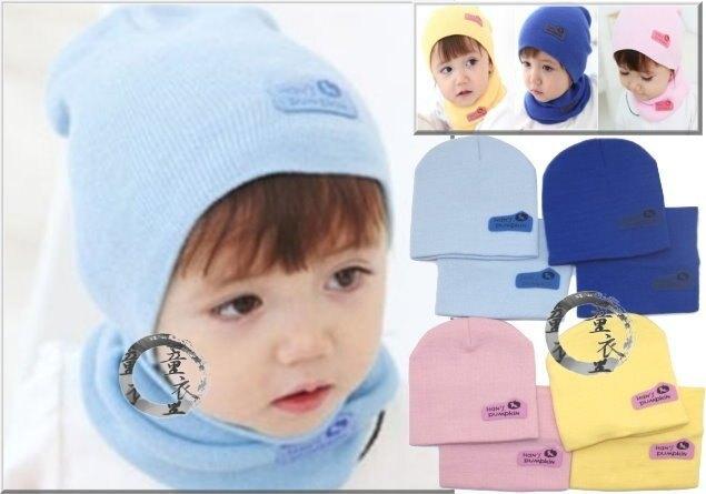 童衣圓【R070】R70脖圍帽子組 純色 素色 圍脖 帽子 脖圍 2件組 毛線 針織 彈性佳 可當親子裝