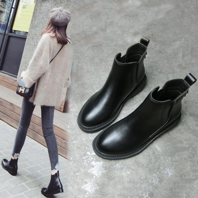 2017新款秋冬季馬丁靴女英倫風平底切爾西女靴短靴單靴及裸靴